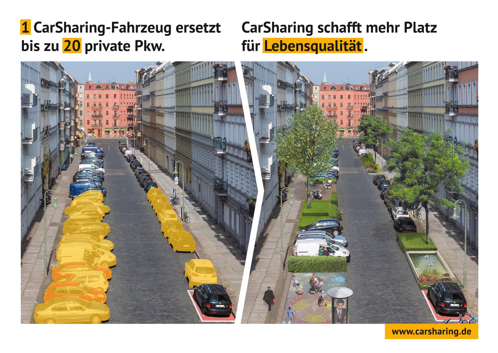 Carsharing schhafft mehr Platz für Lebensqualität