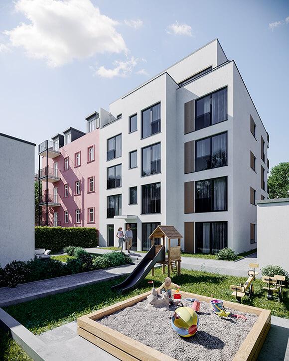 Rendering Hinterhof Sachsenstraße 2